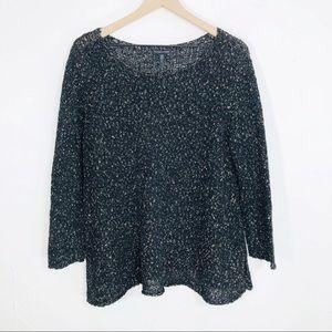 Eileen Fisher black confetti tunic sweater L